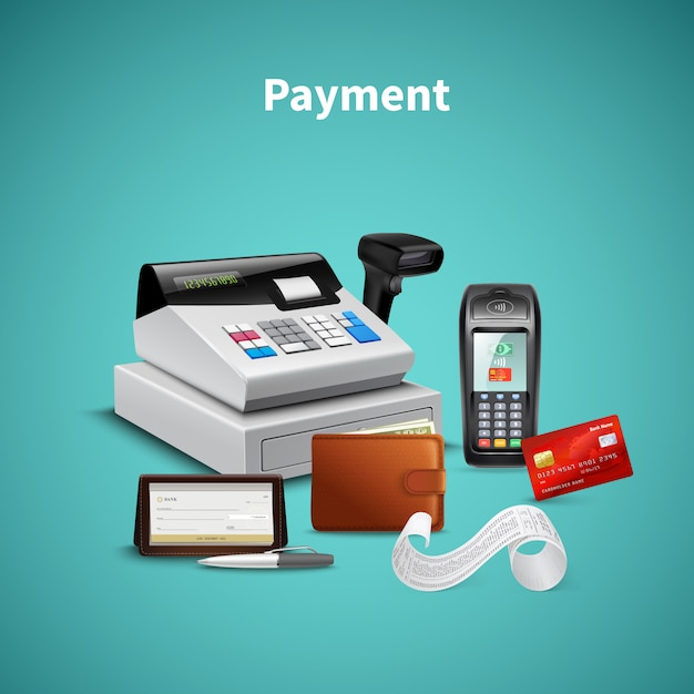 Payment processing on pos terminal wallet with money cash register  realistic composition on turquoise Free Vector