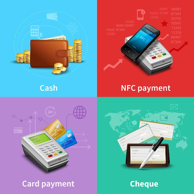 Payment realistic set Free Vector