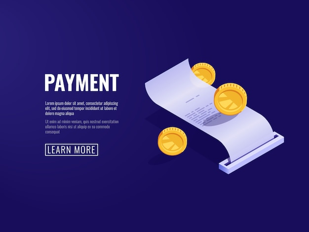 Payment receipt, payroll, electronic bill, online buying concept Free Vector