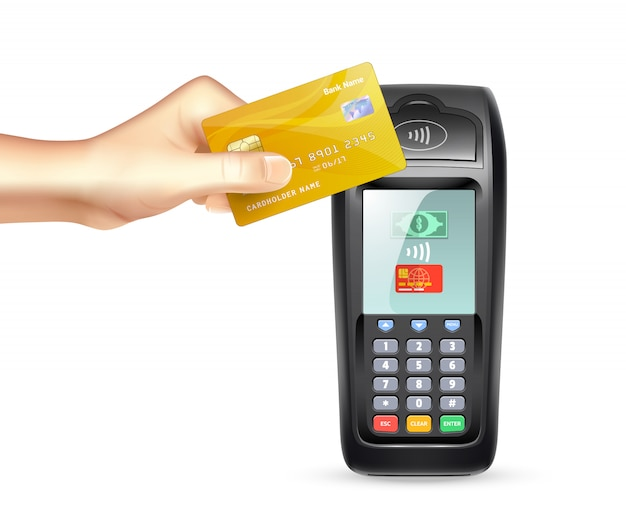 Payment terminal with credit card Free Vector