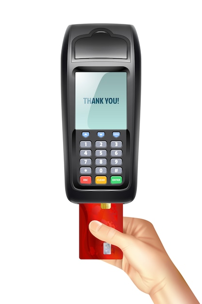 Payment terminal with inserted credit card Free Vector