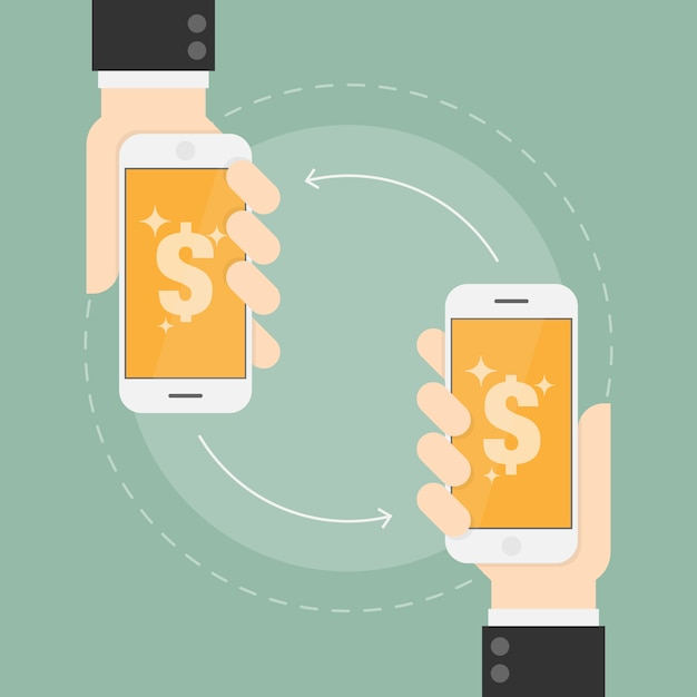 Payment transfer on mobile phones Free Vector