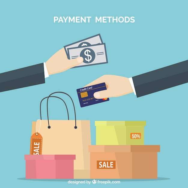Payments, shopping bags and boxes Free Vector