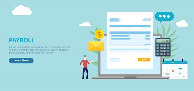 Payroll employee worker with invoice paper Premium Vector