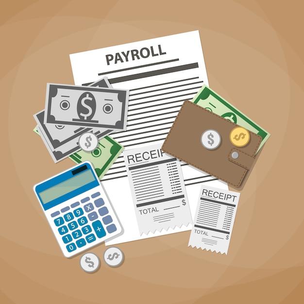 Payroll invoice concept Premium Vector