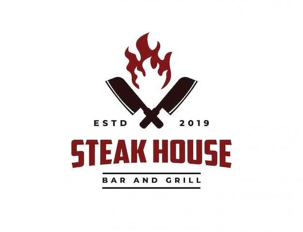 Pbutcher knife and fire vintage retro cafe bar steak house logo Premium Vector