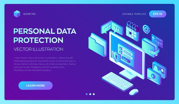 画面上の認証フォーム、個人データ保護を備えたデスクトップpc。データ保護。 3dアイソメトリック。 Premiumベクター