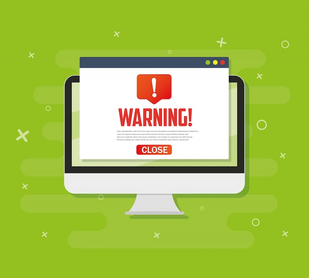 Pc alert notification concept warning , spam , viruses, internet errors, trojan Premium Vector
