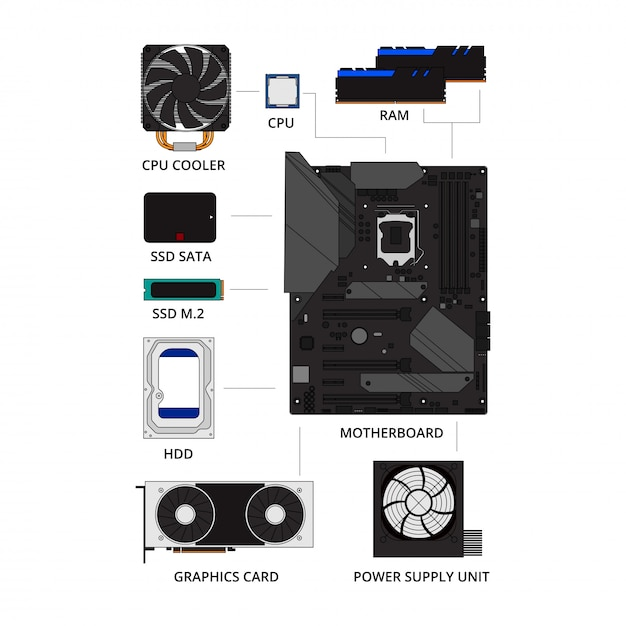 Pc build components infographic collection set. how to build pc concept. motherboard, cpu, graphic card, hard disk, ssd, power supply, ram, in flat line art design isolated vector illustration style. Premium Vector