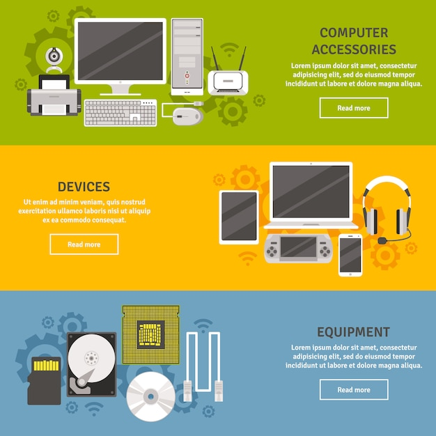 Pc and computer equipment with devices and accessories flat banner set isolated Free Vector