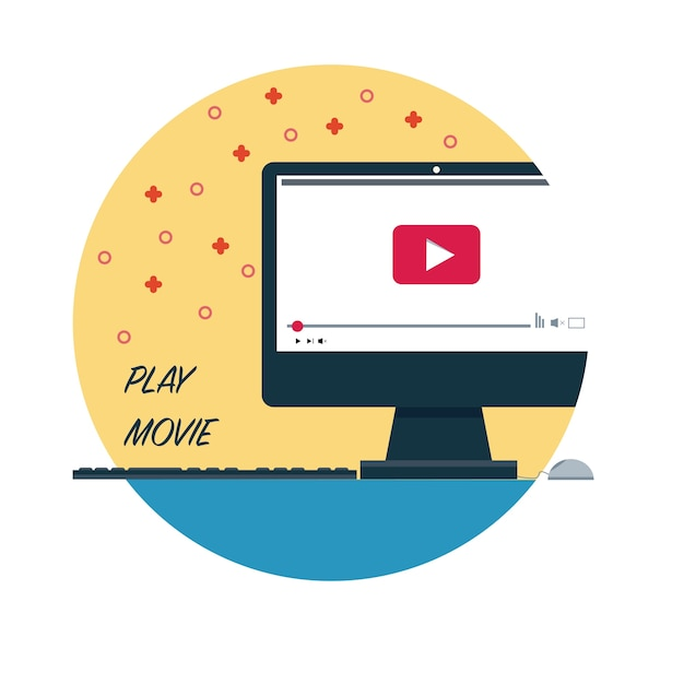 Pc play movie vector Free Vector