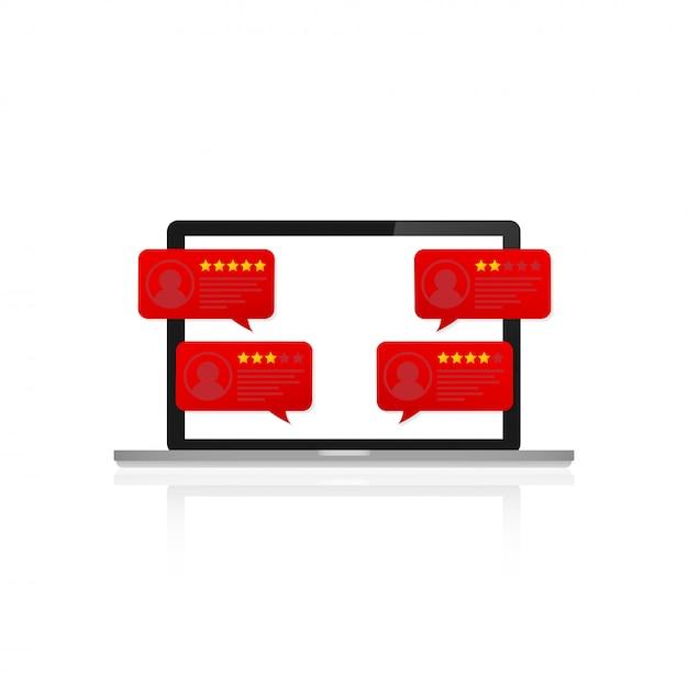 顧客レビュー評価メッセージ付きのラップトップ。デスクトップpcディスプレイとオンラインレビューまたはクライアントの声 Premiumベクター