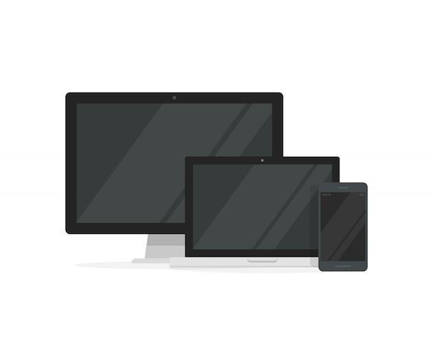 レスポンシブデザインのためのラップトップコンピューターとスマートフォンを備えたデスクトップpc Premiumベクター