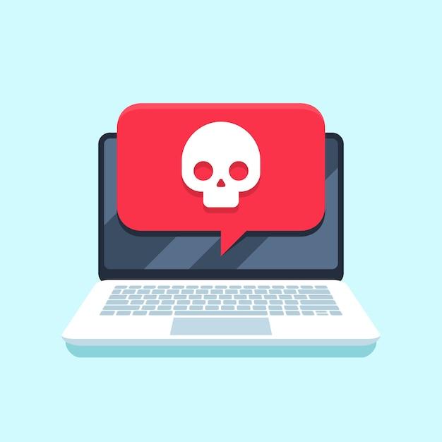 ノートブック画面のウイルス通知。マルウェア攻撃ラップトップpc、コンピューターウイルスまたはハッキングの安全なベクトルの概念 Premiumベクター