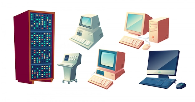 コンピューター進化漫画ベクトルの概念。ヴィンテージの古いコンピューティングステーション、レトロなシステムユニットとモニター、キーボードとマウスのイラストが白い背景で隔離の現代デスクトップpc 無料ベクター