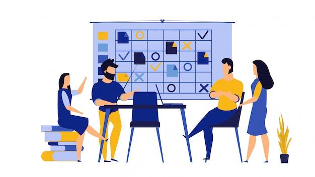 チームワークの起業家精神、コンピューターpcのオフィス作業図。 Premiumベクター