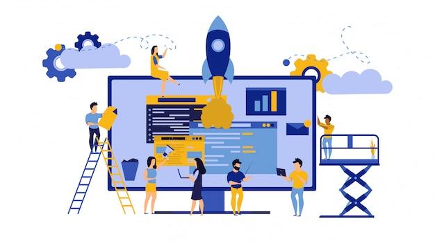 創造的なチームワーク、ビジネスpcコンピューターオフィスイラスト。 Premiumベクター