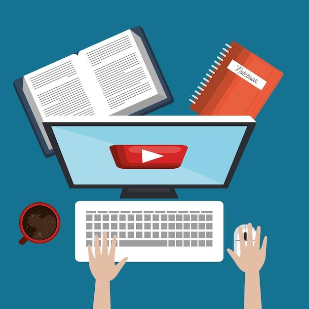 学生教育オンライン、pcの本やカップのコーヒー Premiumベクター