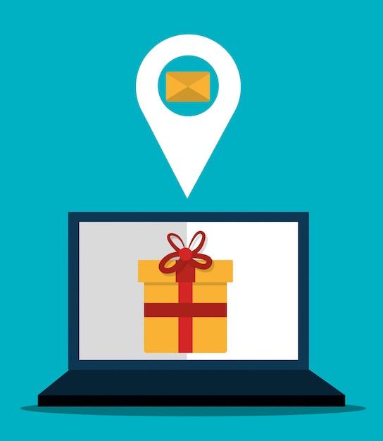 デジタルマーケティングとオンライン販売、pcディスプレイ上のギフト 無料ベクター