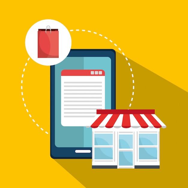 デジタルマーケティングおよびオンライン販売、pcディスプレイ上のオンラインショップ 無料ベクター