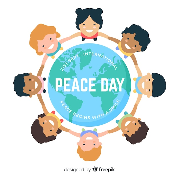Peace day background children holding hands around the world Free Vector