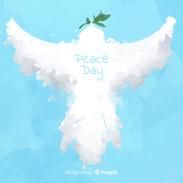 Peace day background with abstract dove Free Vector