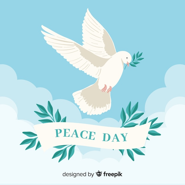 Peace day background with dove Free Vector