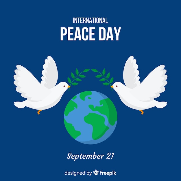 Peace day background with doves and world Free Vector