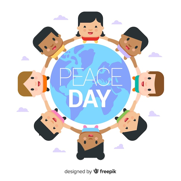 Peace day background with flat kids around earth Free Vector