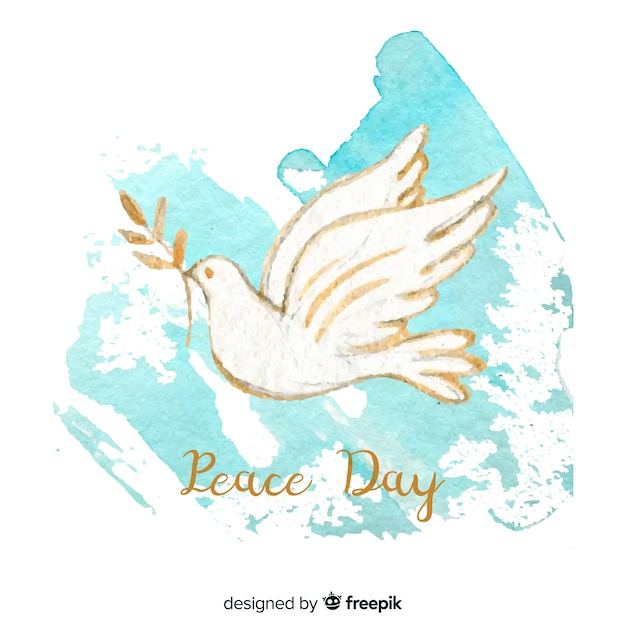 Peace day background with hand painted white dove Free Vector