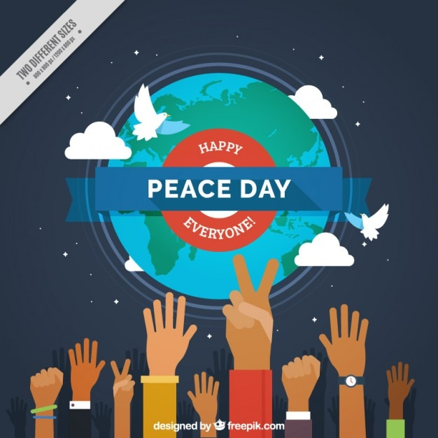 Peace day background with hands and world Free Vector