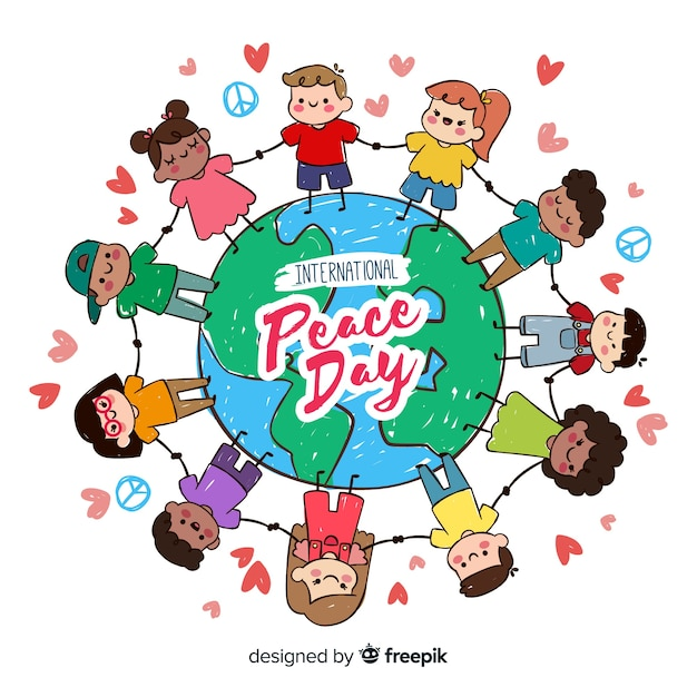 Peace day background with kids holding hands around earth Free Vector