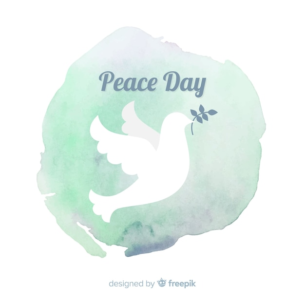 Peace day background with white dove Free Vector