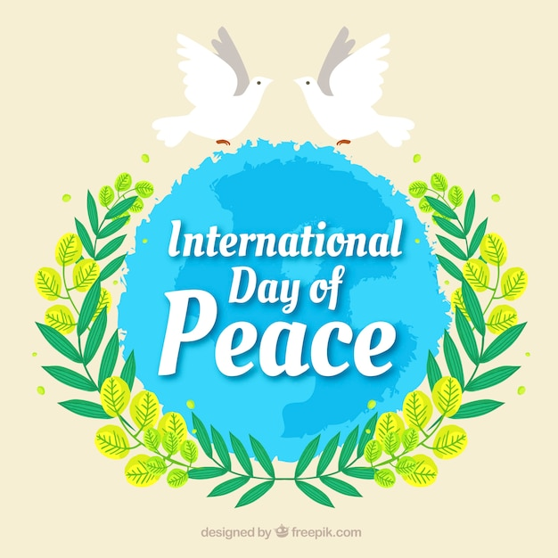 Peace day background with world with decorative doves and leaves