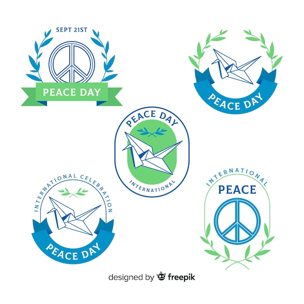 Peace day badge collection Free Vector