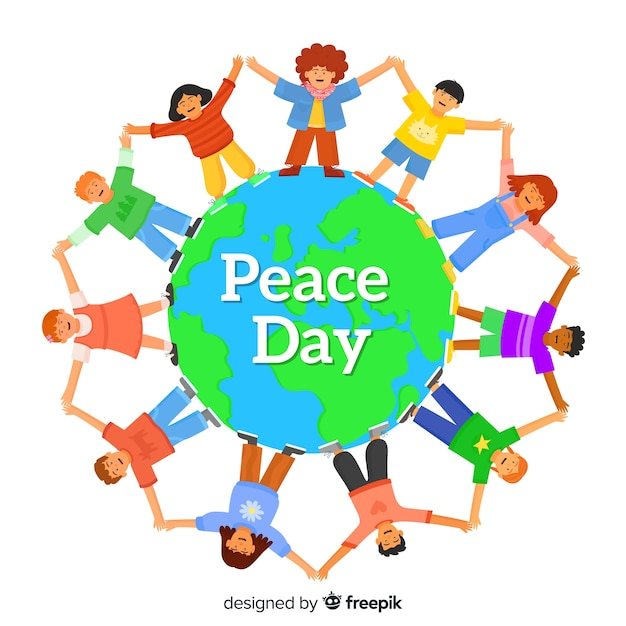 Peace day children around the world in flat design Free Vector