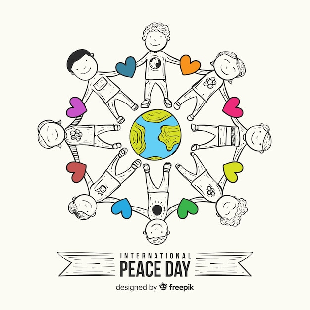 Peace day composition with children holding hands around the world Free Vector