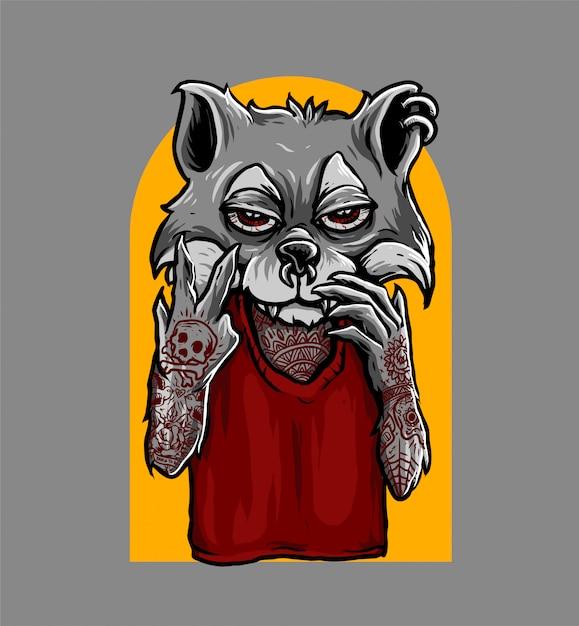 Peace hand sign fox Premium Vector