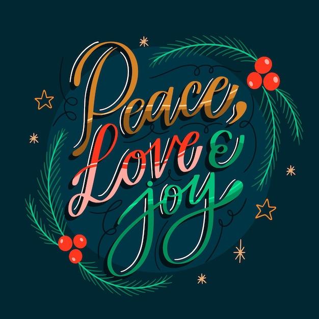 평화 사랑과 기쁨 글자 무료 벡터