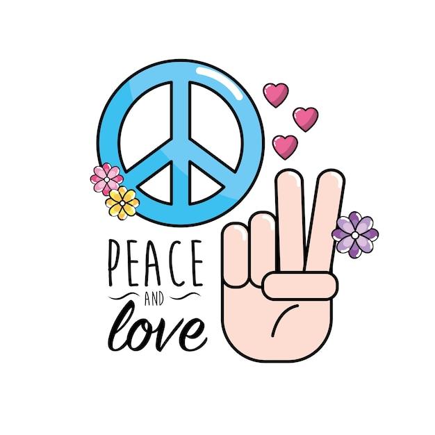 Peace and love symbol and global spirit Premium Vector