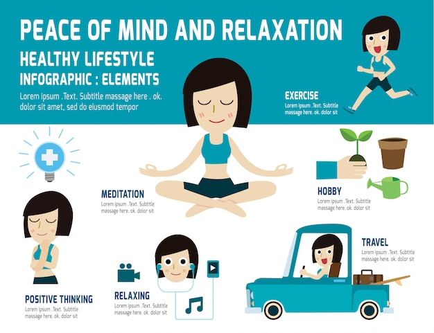 Peace of mind to relax healthy lifestyle. meditation, relieve health, infographic element, health care concept Premium Vector