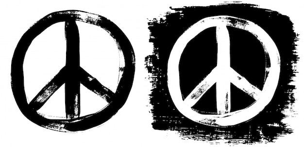 Знак мира гранж черный белый тройник граффити doodlie эскиз грязный стиль символ Premium векторы