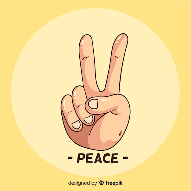 Peace sign hand Free Vector
