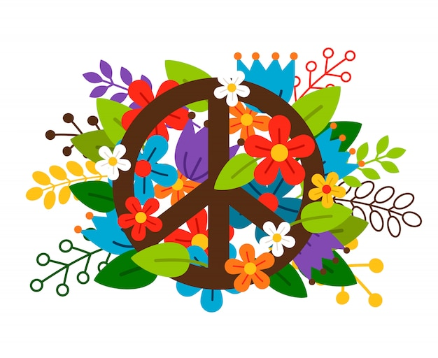 Peace symbol with flowers on white background. Premium Vector