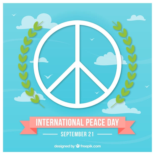 Peace Symbol With Laurel Leaves In The Sky Vector Free Download