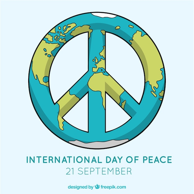 Peace Symbol With World Map Vector Free Download