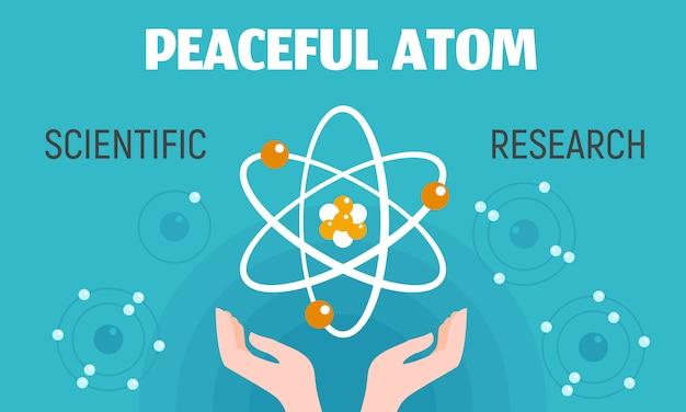 Peaceful atom concept banner, flat style. Premium Vector