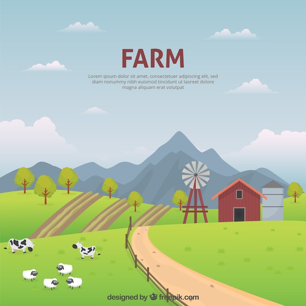 Peaceful farm landscape Free Vector
