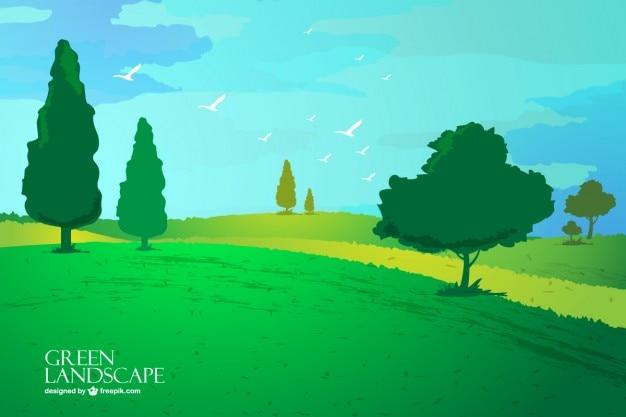 Peaceful landscape with birds