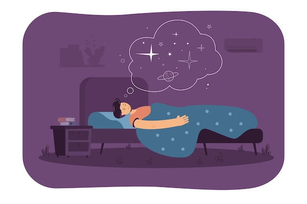 침실에서 자고, 침대에서 쉬고, 공간을 꿈꾸는 평화로운 남자. 만화 그림 무료 벡터